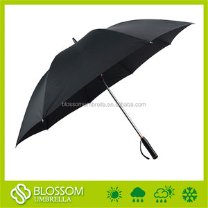 Big size golf straight black manual umbrella fan outdoor with usd charge