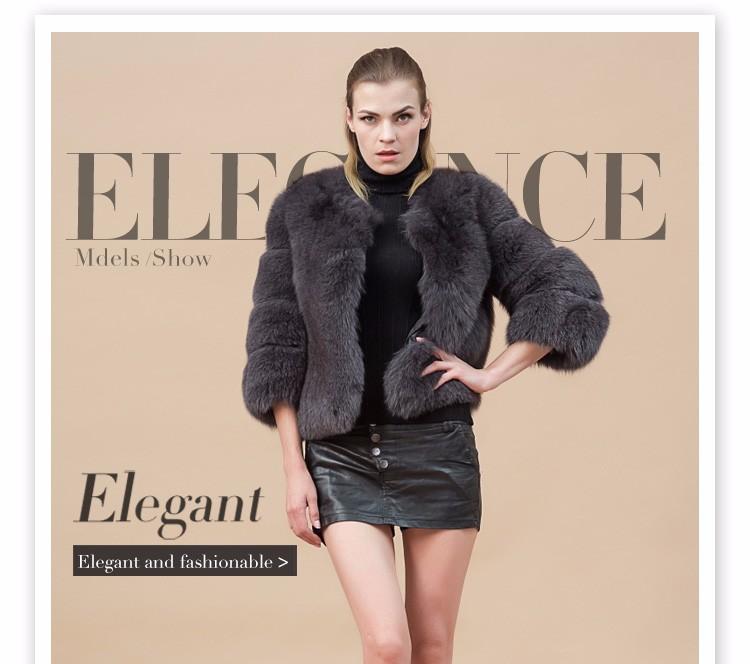 Simple And Grey Fox Fur Coat Reversible Women&39s Cheap Real Fur