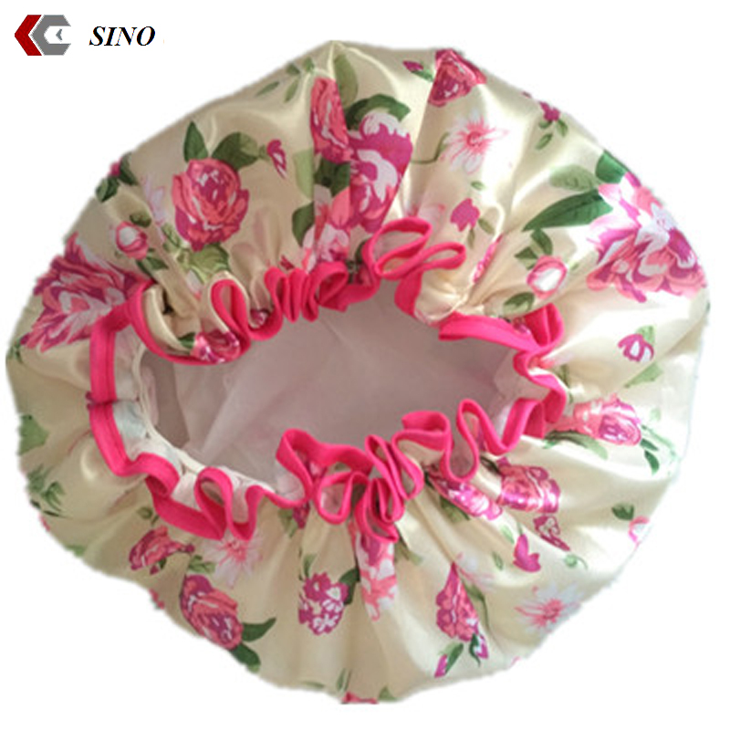 Double layer print flower shower cap larger size sleep caps shower cap hair satin bonnet for women girls