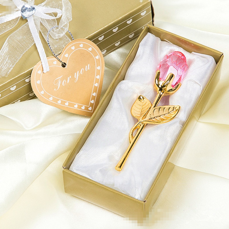 Crystal Pink Rose Flower With Gold Leaves Valentine Wedding Anniversary Gifts