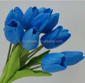 Real Touch Wedding Bouquet 12 Heads Pu Tulip Royal Blue Artificial Flowers Flower Product On Alibaba