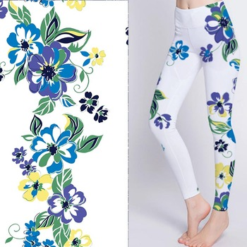Breathable digital printed stretch flower print fabric for yoga pants
