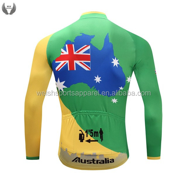 Custom Design Wholesale Mens 100% Polyester Long Sleeve China Pro Cycling Jersey