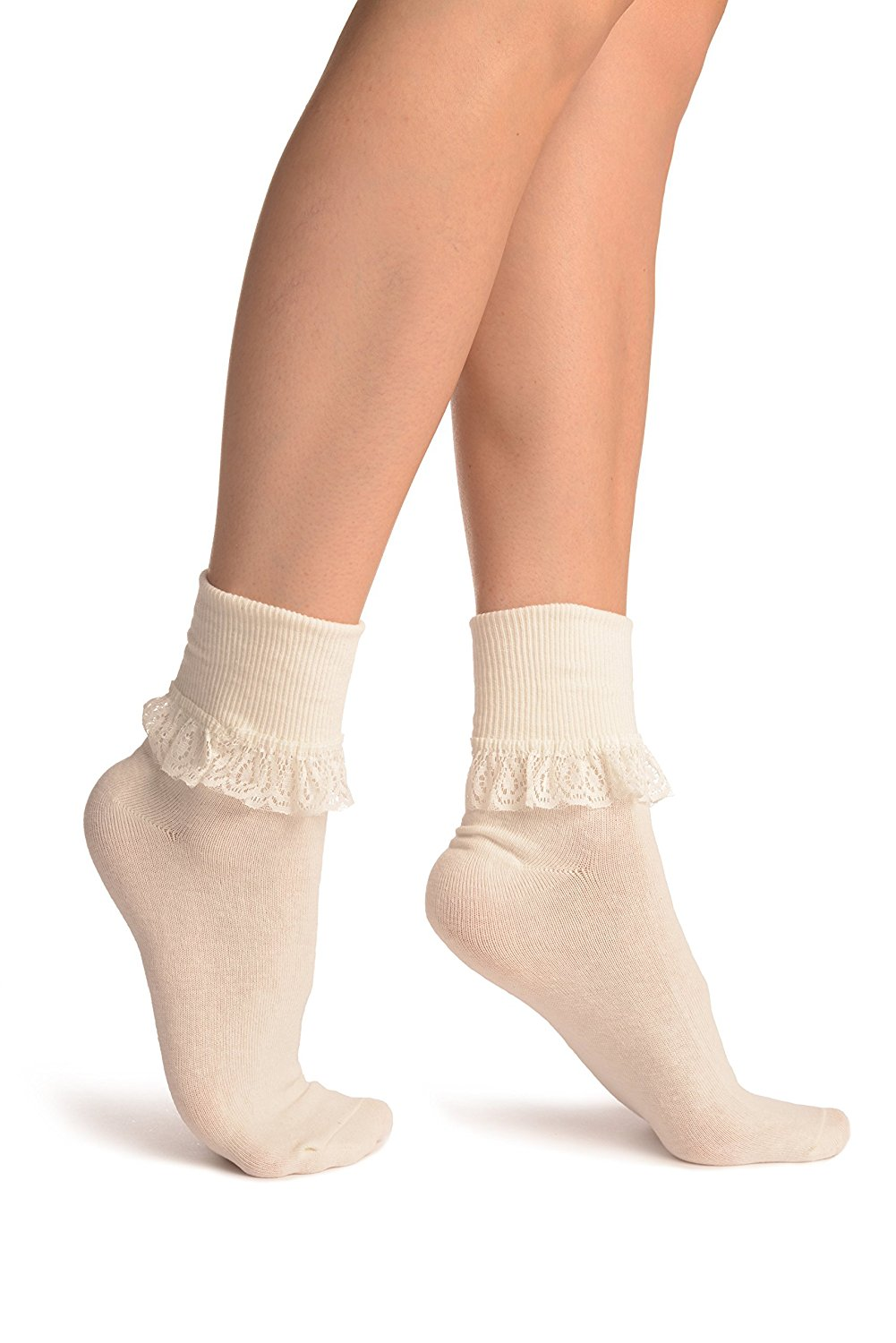1c54e77b4 Get Quotations · Cream With Cream Lace Trim Ankle High Socks - Socks