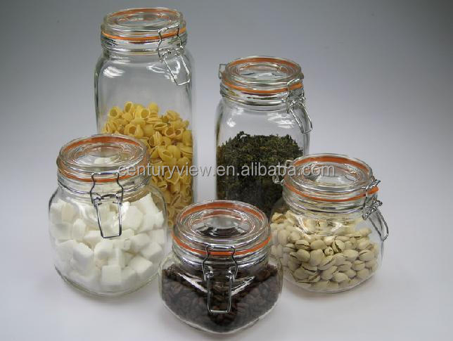 Rubber Or Silicone Seal Airtight Swing Top Glass Storage Jars