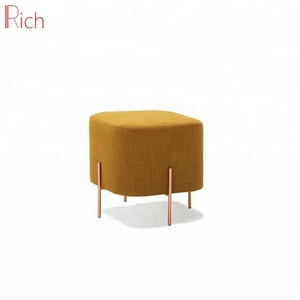 Wooden stool ottoman with fabric cover square molding pouf
