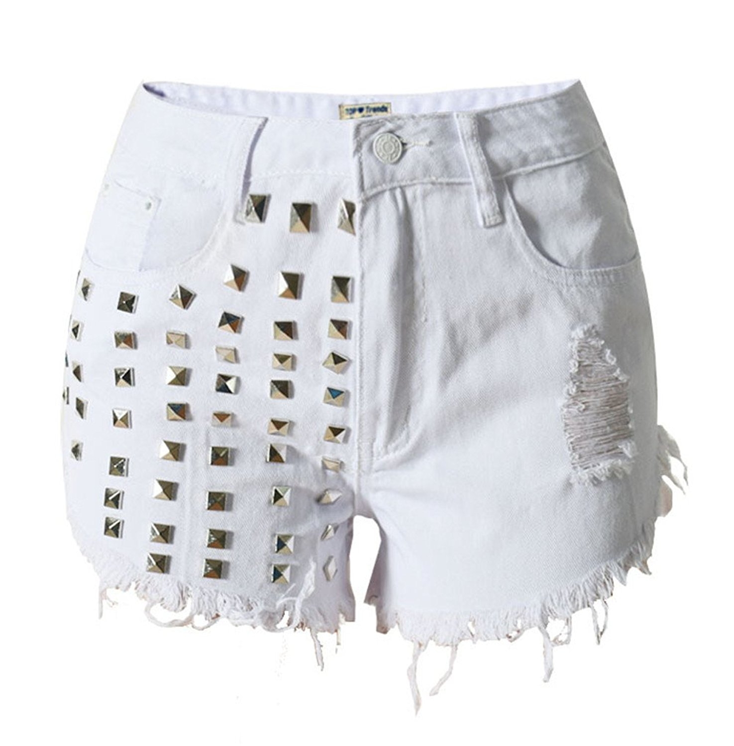 ccc550ec82216b Get Quotations · Cool Rivet Hole Denim White Shorts Women Ripped Fringe Jean  Hot Shorts Ladies Casual Summer High