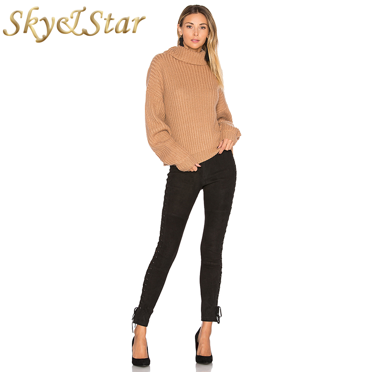 turtleneck pullover solid color high turn down collar casual women sweater