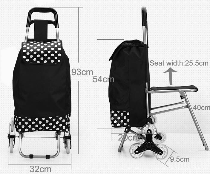 Metal Frame 3 Wheeled Shopping Trolley Price With Seat