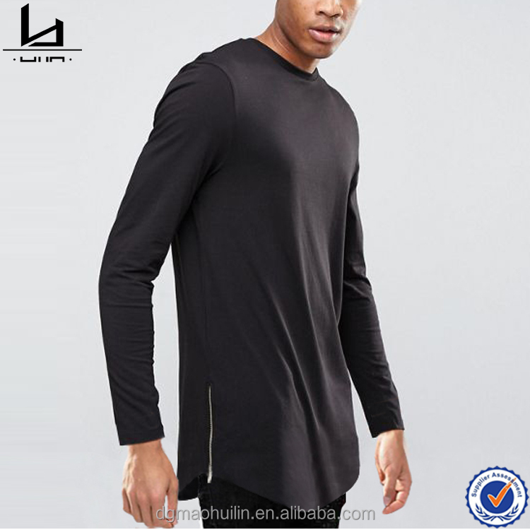Hot selling products long sleeves lightweight woven cotton zip curved hem longline t-shirt
