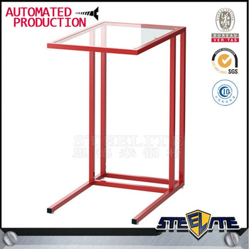 Glass Top Corner Table With Iron Tube Frame Small Coffee Table Living Room  Furniture