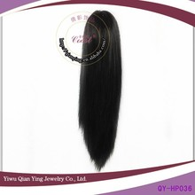 black fake straight synthetic long hair accessories ponytail