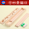 2014 new wooden pencil box for kids good cheap pencil case stationery set
