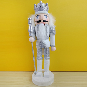"Wholesale 10"" Wooden Christmas King Nutcracker Gift Claus Xmas Figurine Soldier Craft Nutcracker Puppet Display Santa Decoration"