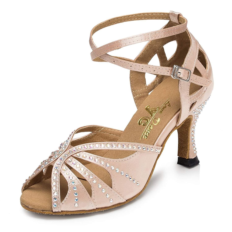 Miyoopark Women's Flared Heel Satin Party Wedding Dance Shoes