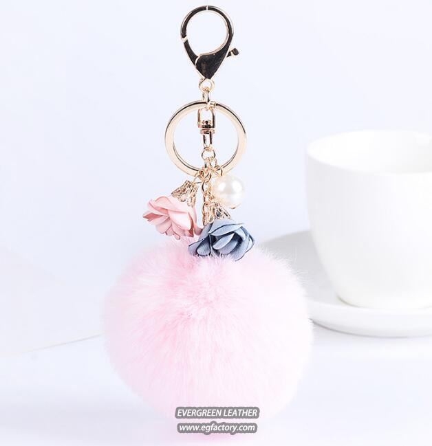 Hot sale fashional colorful fur ball ladies Hand bags decoration accessory FT075