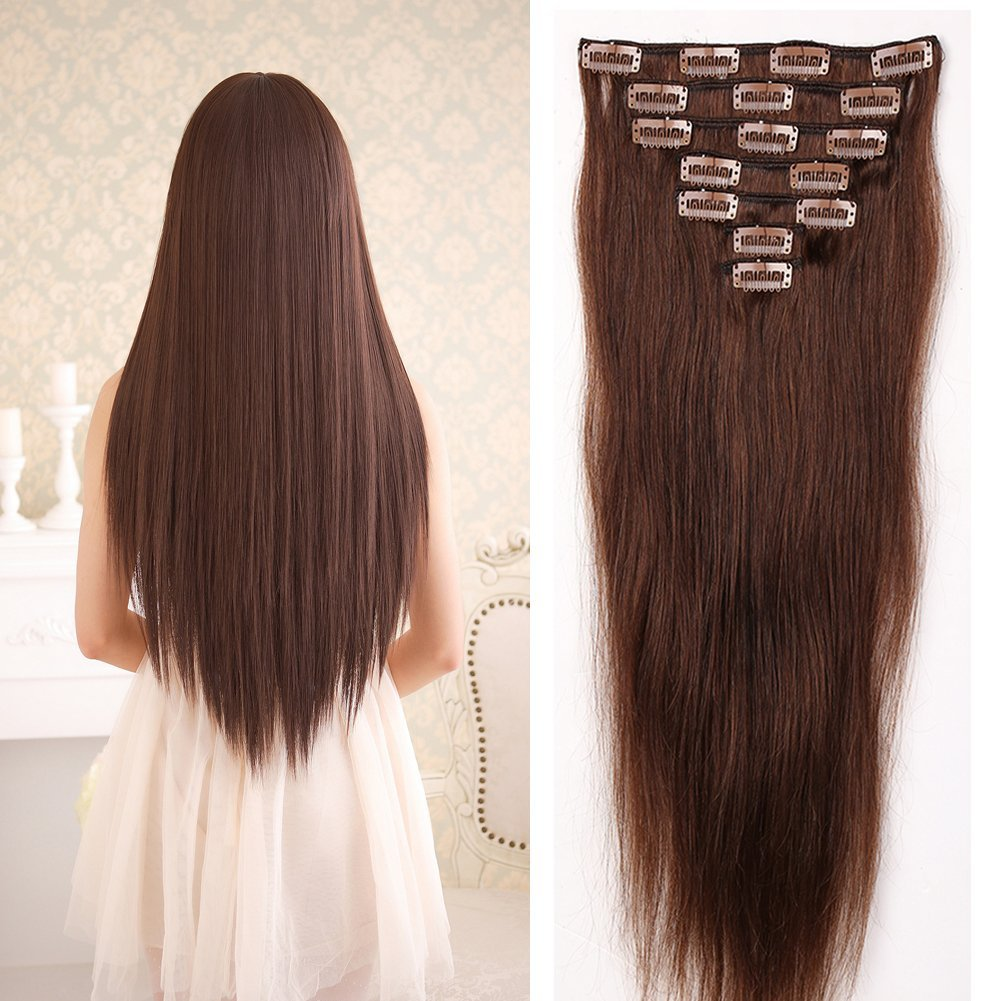 "100% Remy Clip in Hair Extensions 18-22inch Grade AAAAA Full Head Human Hair 7pcs 16clips Natural Long Smooth Silky Straight for Women Fashion(18"" / 18 inch 75g ,#4 Medium Brown)"