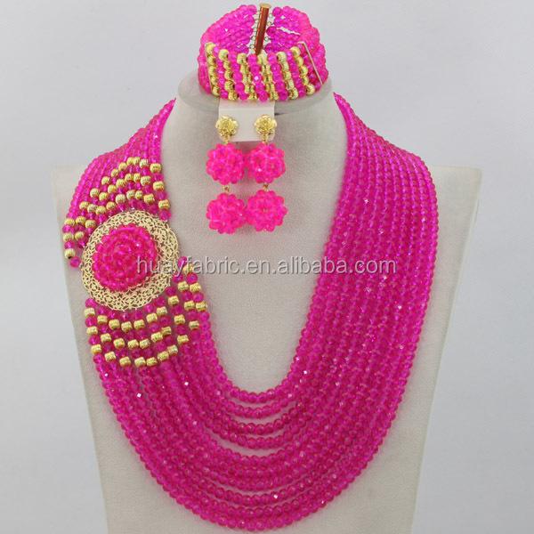 2015 Pernyataan kalung pengantin Nigeria manik-manik perhiasan african set perhiasan imitasi set 18 k berlapis emas