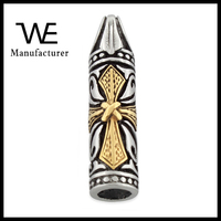 Stainless Steel Two Tone Cross Cylinder Design Bali Bullet Pendant