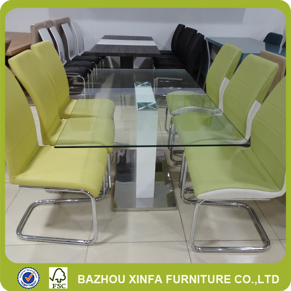 Wholesale Buffet Restaurant Simple Style Rectangular White Base Glass Furniture Dining Table