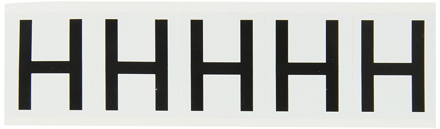 "Brady 9714-H 97 Series 2-1/4"" Height, 1-13/16"" Width, B-946 High Performance Vinyl, Black On White Color Indoor Or Outdoor Letter Label Legend ""H"" (5 Labels Per Card)"