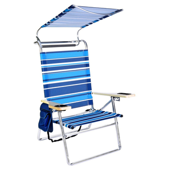 Deluxe 4 Position Beach Chair Lounge Aluminum Lounger Folding Camping Outdoor Garden Sun Roof Shade Patio