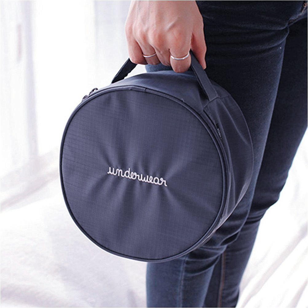 Yiuswoy Round Waterproof Travel Underwear Bra Underpant Storage Lingerie Travel Pouch,Portable Travel Drawer Dividers Closet Organizers With Handle - Dark blue