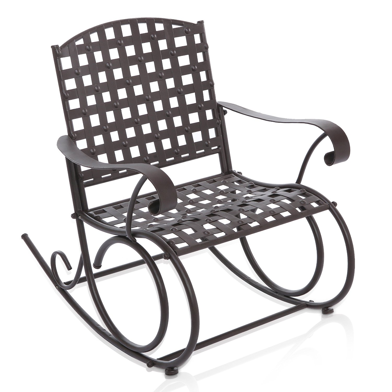 Mygift Decorative Dark Brown Woven Metal Rocking Chair Outdoor Patio Deck Furniture Rocker