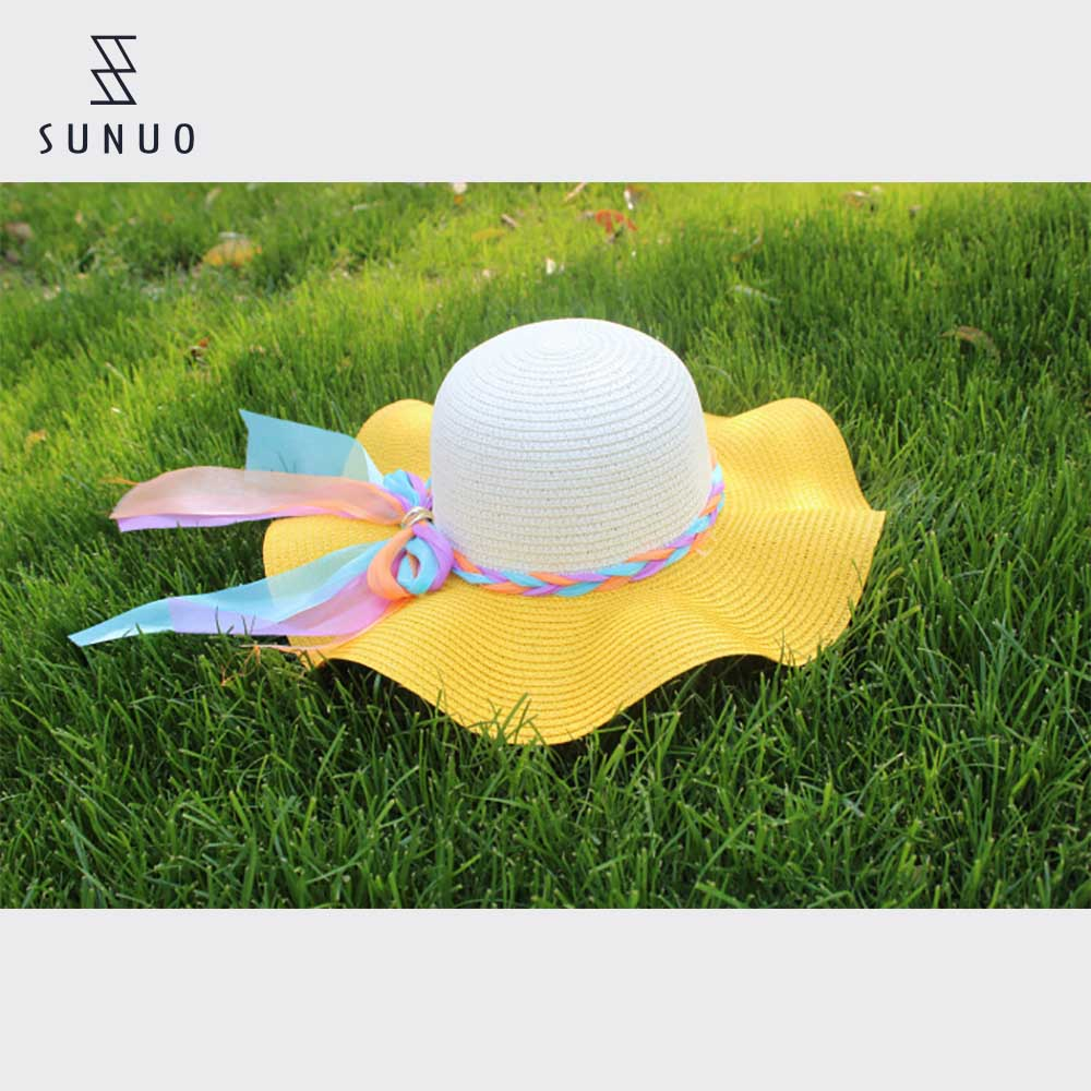 Chinese Design Wave Brim Beach Straw hat For Sun Protection