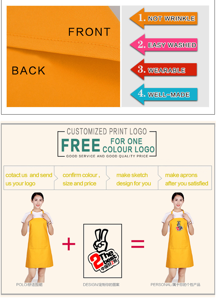 Cotton kitchen apron printed logo for restaurant waiter/adjustable Advertisement promotion gift cooking apron with pocket