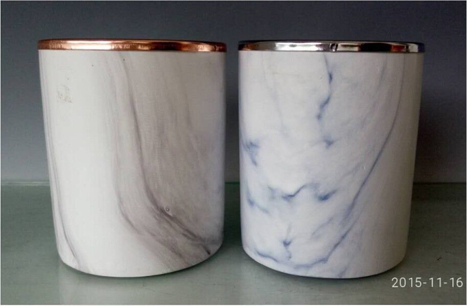 Decorative Marble Candle Jars With Lid For Candle Making