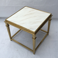 Modern home furniture small end table polished metal glass top side table