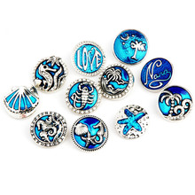 New Design DIY Cute 동물 jewellery 18mm Snap Button Wholesale 석 Crystal Enamel Button