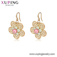 94849 fancy design gold earring beautiful flower pendant colorful pearl jewelry types of earring hooks for ladies