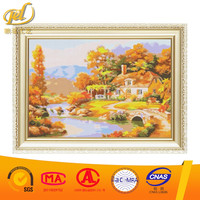 Russian-European styles village wholesales diamond sticky painting kits canvas for wall art a186