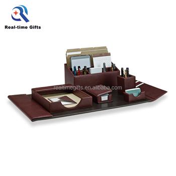Luxury Business Table Organizer 6 Pieces Pu Office Leather Desk Set