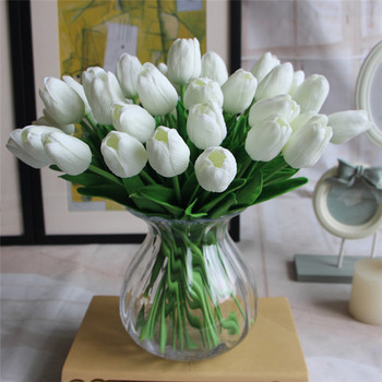 Free Shipping Pu Mini Tulip Flower Real Touch Wedding Bouquet Artificial Silk Flowers For Home