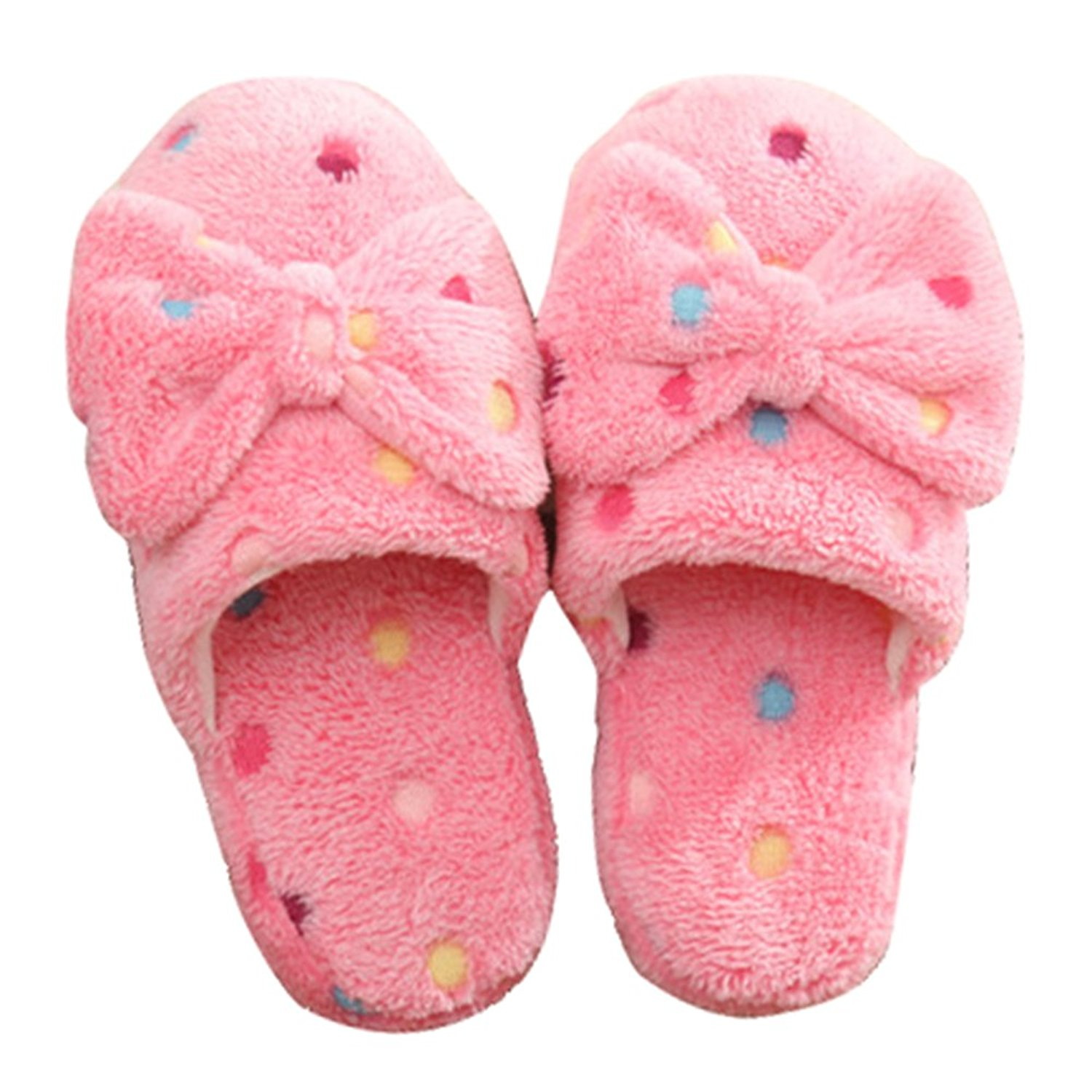 Gracefulvara Women Girls Anti-Slip Cute Dot Bowknot Slippers,Coral Velvet Indoor Warm Shoes