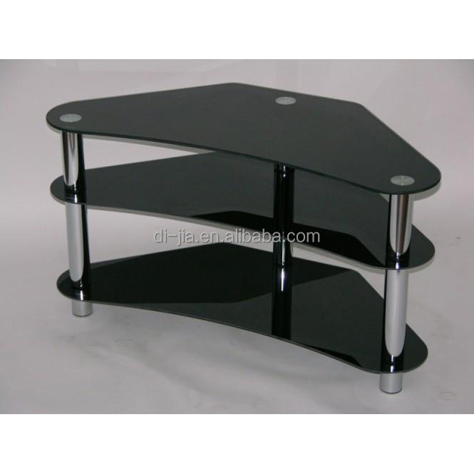 Small Tv Stand 3 Tier Black Glass