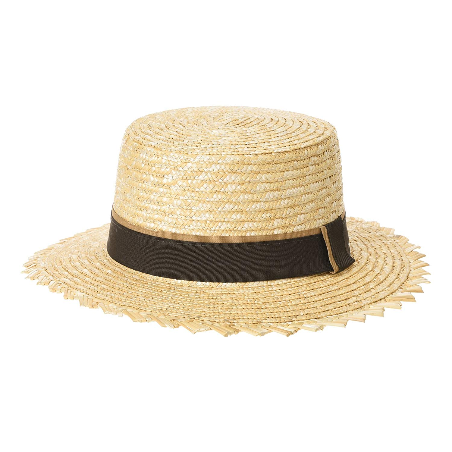 a5015f7386cdd Get Quotations · WITHMOONS Boater Hat Straw Summer Ribbon Skimmer Barber  Sun Hat ACW1018