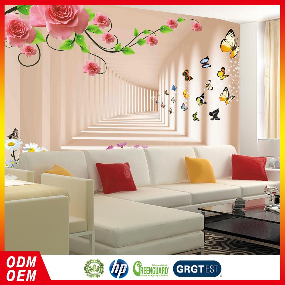 Moda tiempo t nel de mariposas 3d pared murales - Murales de pared 3d ...
