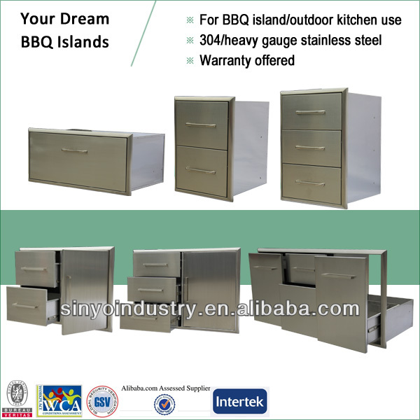 Stainless outdoor kitchen cabinet