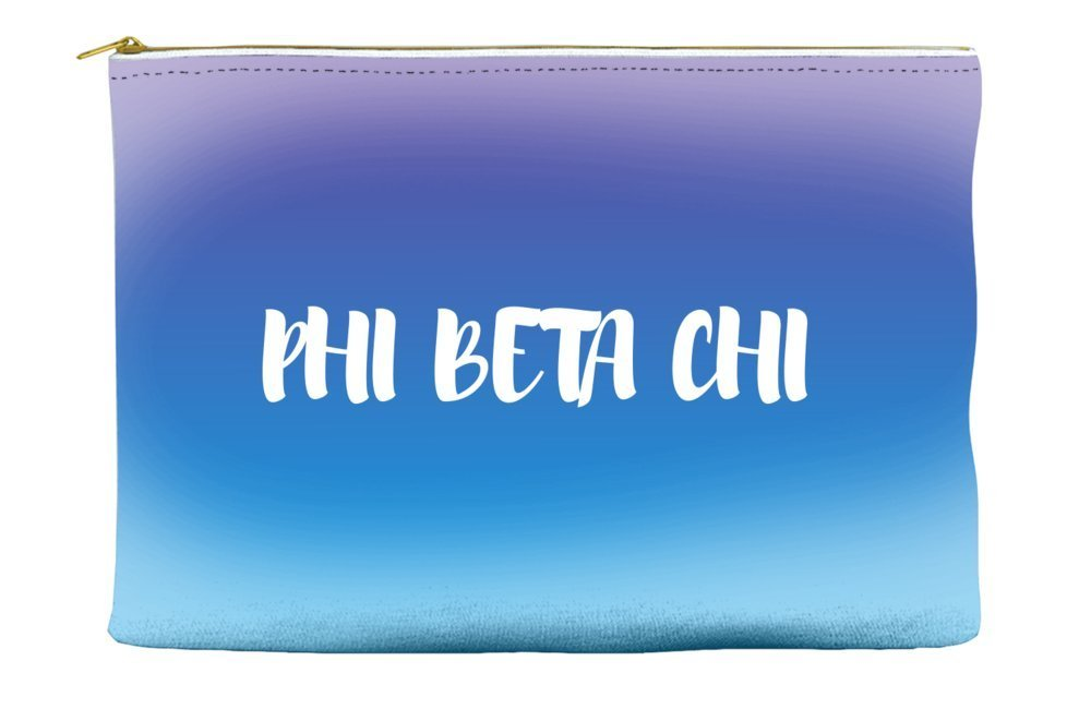 Phi Beta Chi Ombre Sunset Purple Blue Cosmetic Accessory Pouch Bag for Makeup Jewelry & other Essentials
