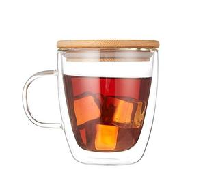 Double Wall Glass Heat-Resistant High Borosilicate Mug with Bamboo Lid for Tea Latte Milk Beer