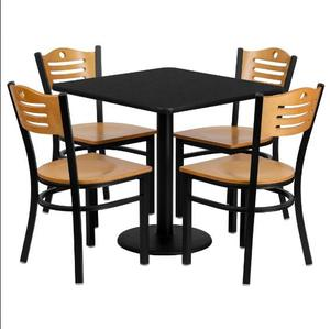 Fast food restaurant chair and table set