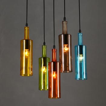 Old Bar Decorative Lighting Creative Hanging Dining Room Diy Colorful Wine Bottle Gl Pendant Light