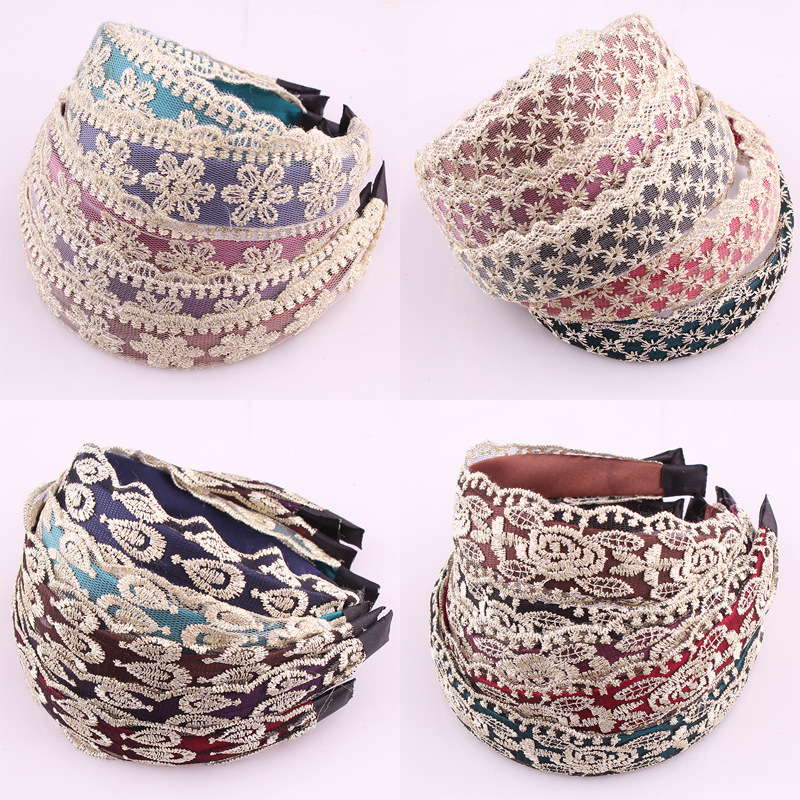 Wholesale Women Lace Hairbands women grils vintage Twisted Knotted Headband Floral wide Hair Bands Headwear Accessories HB017