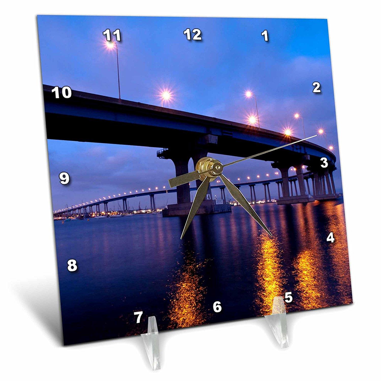 3dRose Danita Delimont - San Diego - California, San Diego, Coronado Bridge curves over San Diego Bay - 6x6 Desk Clock (dc_250632_1)