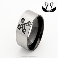 Factory wholesale Jewelry design silver plated Tungsten models Cross wide mens band ring