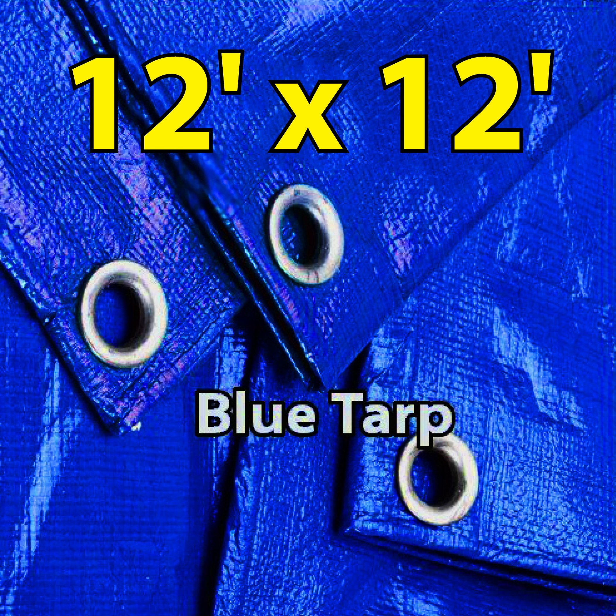 12'x12' Blue Multi-purpose 6ml Waterproof Poly Tarp Cover with Tent Shelter Camping Tarpaulin By Prime Tarps